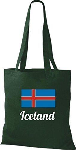 shirtinstyle Tela Bolsa Algodón länderjute Iceland island - fucsia, 38 cm x 42 cm Verde