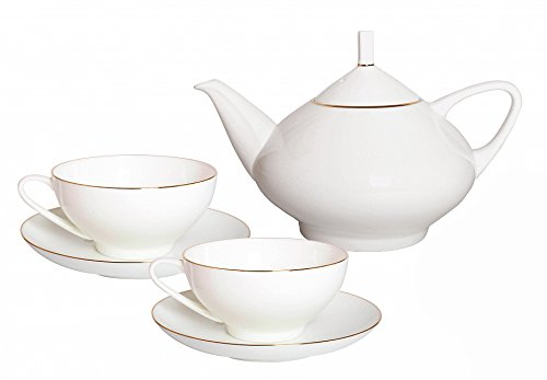 Bone China Teapot Dome Golden Ribbon and 2 Cups Set Lomonosov Porcelain Factory