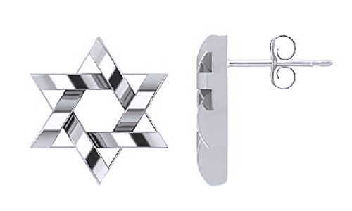 Mothers Day Jewelry Gifts Hanukkah Holy Day Sale Messianic Star Of David Stud Earrings in 14k White Gold Over Sterling Silver By Jewel Zone US