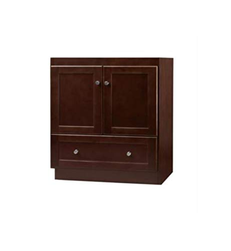 RONBOW Essentials Shaker 30 Inch Bathroom Vanity Cabinet Base in Dark Cherry Finish, with Soft Close Wood Doors and Full Extension Drawers ()