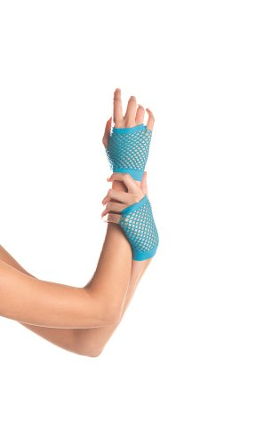 Be Wicked Women's Wrist Length Fingerless Fishnet Gloves, Turquoise, One Size]()
