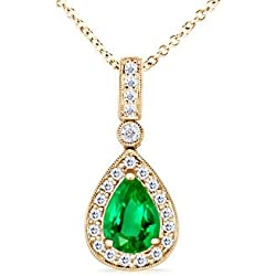 May Birthstone - Vintage Diamond Halo Emerald Drop Pendant Necklace for Women