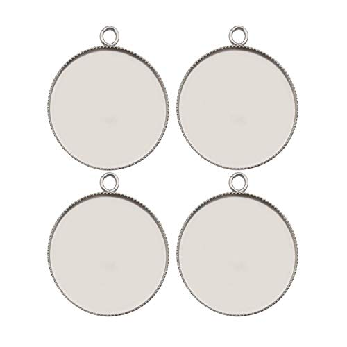 20pcs Fit 30mm Stainless Steel Round Blank Bezel Pendant Trays Base Cabochon Settings Trays Pendant Blanks for Jewelry Making DIY Findings
