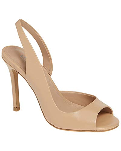 - CHARLES BY CHARLES DAVID Women's Rexx Slingback Pump Nude Leather 7.5 M US
