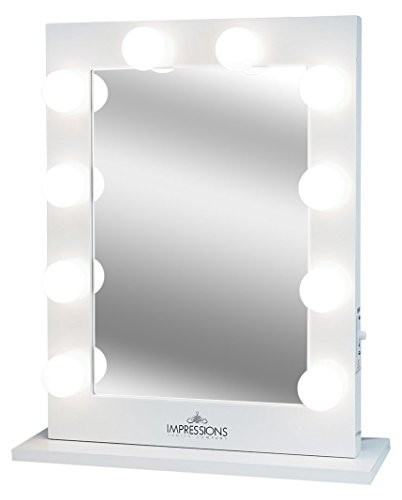 Wood Dresser N Mirror (Impressions Vanity Hollywood Studio Lighted Make-Up Vanity Back Stage Mirror, White, X-Large)