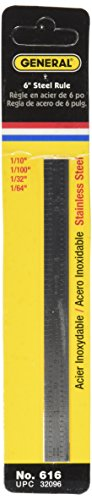Ruler Flexible Scale - General Tools 616 Flexible Industrial Straight Edge Ruler, 6-Inches, Stainless Steel
