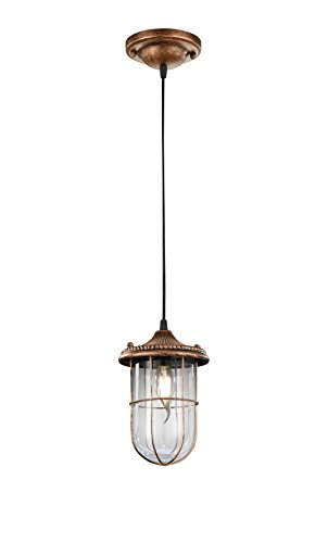 Trio Birte - Lámpara colgante, color antique cobre y cristal transparente