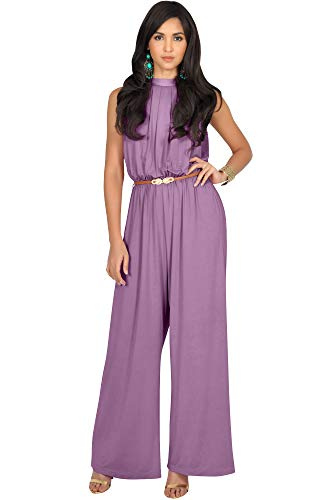 KOH KOH Womens Sexy Sleeveless Halter-Neck Wide Leg Pants Cocktail Overall Long Work Day Suit Pant Suits Pantsuit Playsuit Jumpsuit Jumpsuits Romper Rompers, Plum Dark Purple M 8-10