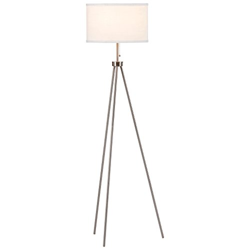 Rivet Minimalist Tripod Floor Lamp, 58H, With Bulb, Steel