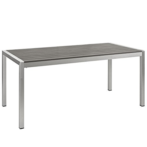Modway Shore Aluminum Outdoor Patio Extendable Dining Table in Silver Gray