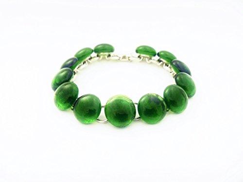 Recycled wine bottle link bracelet in green glass/Handmade upcycled bracelet from kiln-fused green glass ()