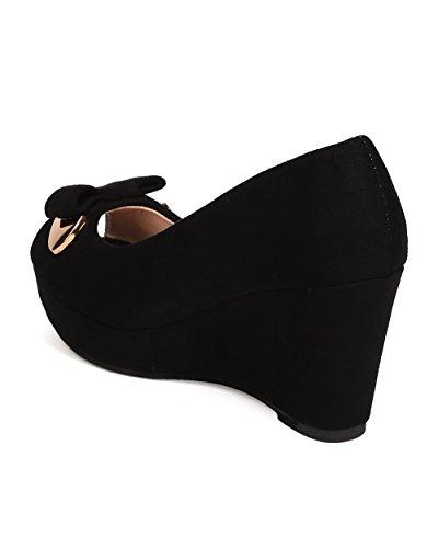 DbDk FD35 Women Faux Suede Peep Toe Bow Tie Platform Wedge Heel - Black hcZh2QlEn