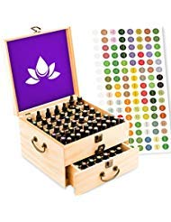 Essential Oil Box - Wooden Storage Case With Handle. Holds 98 Bottles & Roller Balls. 2 Tier Space Saver. Sealed Natural...
