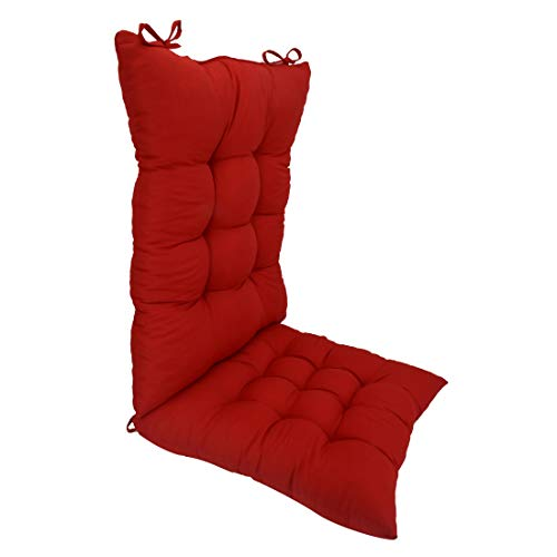 ELFJOY Solid Color Cozy Sanding Fabric Rocker Cushion Set - Chair Pads Set (Red)