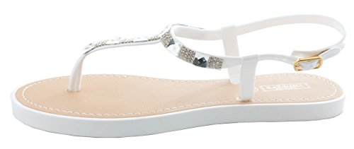 shoefashionista Ladies Toe Post Flat Bow Diamante Flip Flops Summer Jelly Shoes Sandals Size Style 4 - White lHEu5d