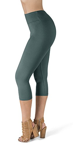 - SATINA High Waisted Super Soft Capri Leggings - 20 Colors - Reg & Plus Size (One Size, Sea Foam)