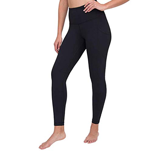 JOFOW Womens Leggings Solid Basic Side Pocket Sport Yoga Pants Skinny Stretch Running Workout Casual Fashion Trousers (XL,Black)