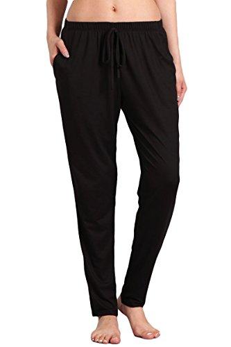 HEYHUN Womens Athleisure Ultra Soft Knit Yoga Bottoms Casual Jogger Pants w Pockets, Black, Large