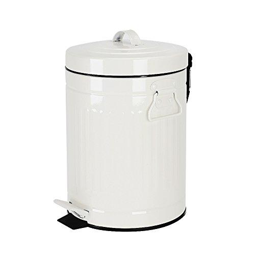 White Bathroom Trash Can, Trash Bin with Lid for Bedroom Bathroom Office, Soft Close, 5 Liter
