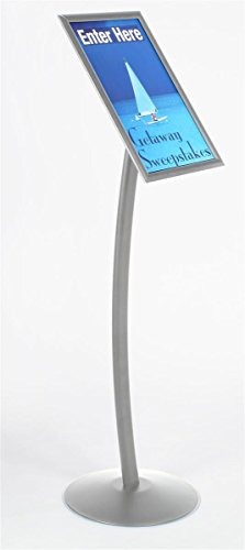 (Displays2go Floor-Standing Sign Stand for 11 x 17 Inches Poster, Snap-Open Frame - Silver Anodized Aluminum (CMB1117))