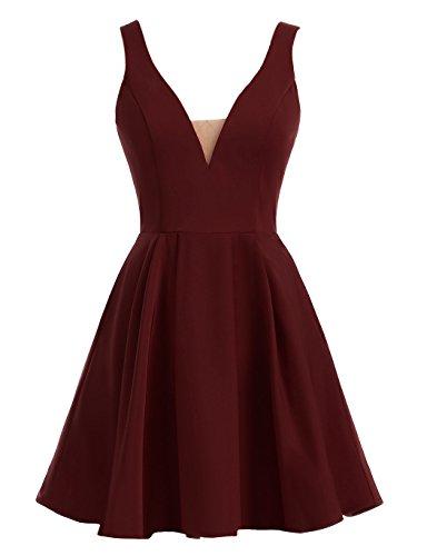 HarveyBridal A-Line Short Satin Homecoming Prom Dresses With Pocket Burgundy US0