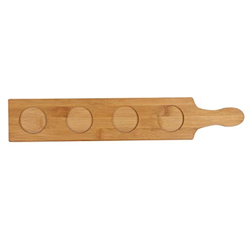 (FEESHOW Wood Beer Tasting Tray,3/4/5 Slots Wine Serving Flight Beer Cup Tray Beer Flight Paddle 4 Slots One Size)