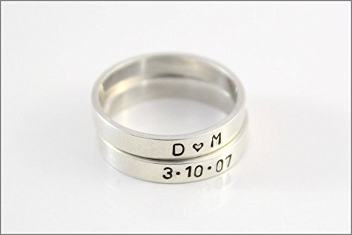 Custom Hand Made Stackable Ring | Silver Rings, Stackable Rings, Rings with Names Dates, Personalized Ring, Custom Name Ring, Skinny Ring
