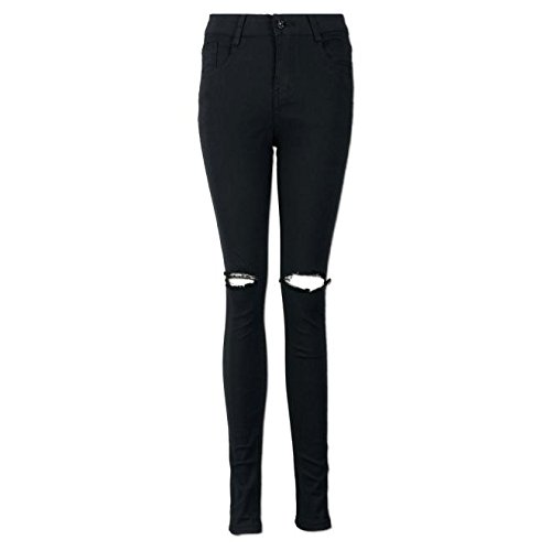 WENSY Womens Solid Color Slim Pencil Trousers Cool Torn ...