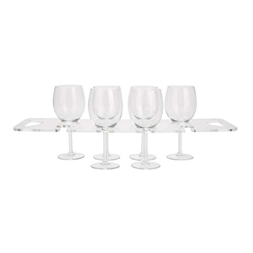 Mind Reader A8WINE-CLR Acrylic, Built in Handles Serving Tray, Kitchen Storage, Barware, 8 Compartment Wine Glass Holder, Clear, One Size,