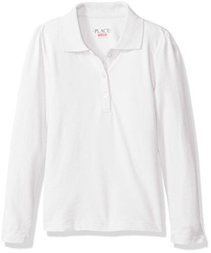 The Children's Place Girls' Big Girls' Long Sleeve Uniform Polo, White, Medium/7/8
