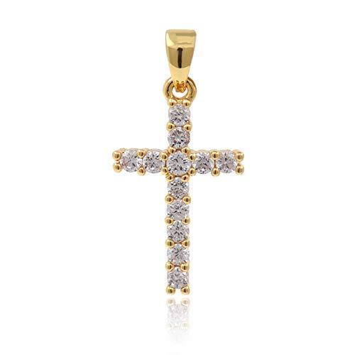 CZ Cross Charm Pendant,Gold Plated Brass Cross with Rhinestones,Minimalist Layering Pendant 20x12mm Gold 8Pcs