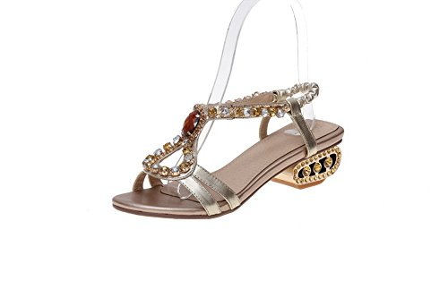 WeenFashion Toe On Women's Pull Heels Gold Low Blend Solid Materials Sandals Open C7CFaxnrW