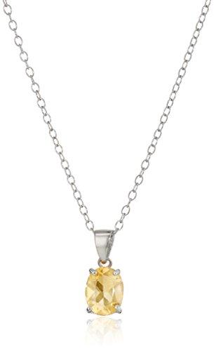 Sterling Silver Citrine Pendant Necklace, (November Birthstone Pendant)