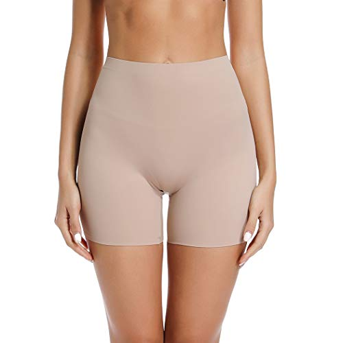 WOWENY Mid-Rise Smooth Slip Shorts Panty for Women Under Dress Anti Chafing Boyshort Safe Panties (Beige, - Shorts Smooth