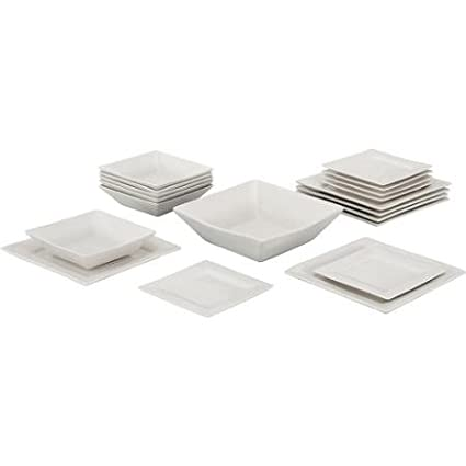 10 Strawberry Street Nova Square 19-piece Dinnerware Set Cream White  sc 1 st  Amazon.com & Amazon.com | 10 Strawberry Street Nova Square 19-piece Dinnerware ...