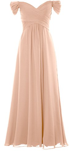 MACloth Women Off the Shoulder Long Prom Dress Chiffon Wedding Party Formal Gown Bellini