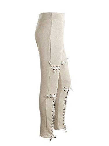 Simplee Apparel Women 's Lace Up gamuza elástico vendaje legging pantalones lápiz pantalones skinny Beige