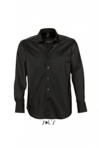 SOLS Herren Herren Stretch-Langarmhemd Brighton 17000 Black 4XL