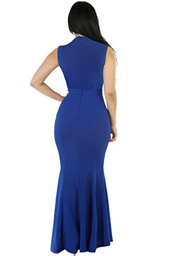 Neue Damen Blau Elegant Strass Lang Abendkleid Ball Cocktail Party ...