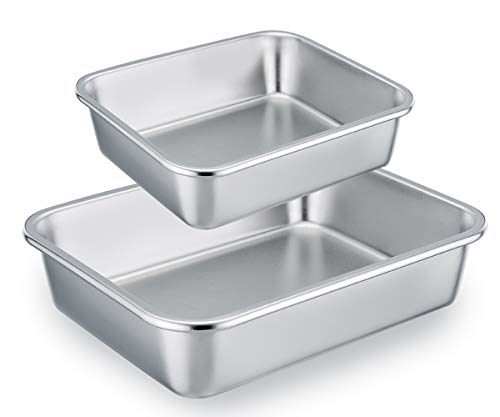 (TeamFar Lasagna Pan Set of 2, Brownie Pan Rectangle Cake Pan Stainless Steel, Heavy Duty & Healthy, Easy Clean & Dishwasher safe, Brushed Surface-13 & 10 inch)