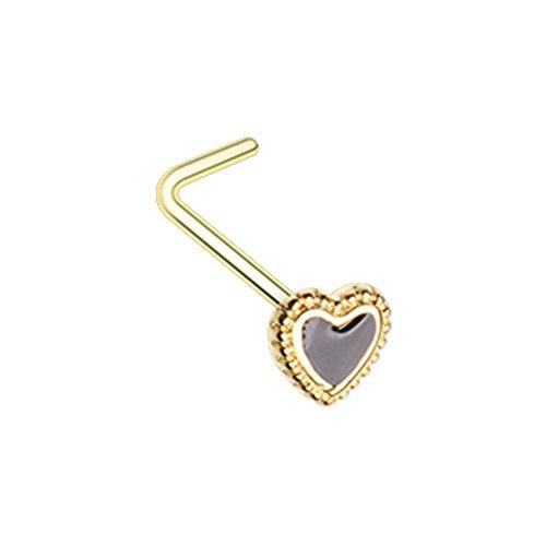 20 GA Golden Doily Valentine Heart L-Shape Nose Ring 316L Body Jewelry Piercing Davana Enterprises (Gold Plated)