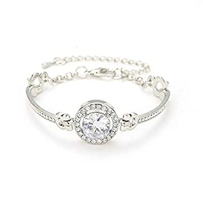 GuGio Adjustable Chain Bracelet for Women,Luxury Rhinestone Zirconia Bracelet for Ladies