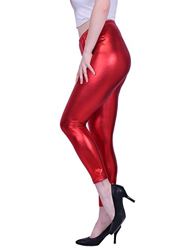 HDE Shiny Red Christmas Leggings New Years Eve Party Clothes