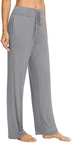 PACBREEZE Women's Loose Yoga Pajama Pants Wide Straight-Leg Casual Workout Running Sporting Active Pants with Pockets 3