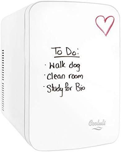 Cooluli Vibe White 15 Liter Compact Portable Cooler Warmer Dry Erase Whiteboard Mini Fridge for Bedroom, Office, Dorm, Car – Great for Skincare & Cosmetics (110-240V/12V)