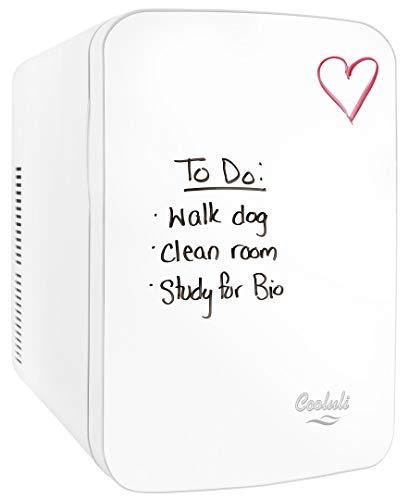 Cooluli Vibe White 15 Liter Compact Portable Cooler Warmer Dry Erase Whiteboard Mini Fridge for Bedroom, Office, Dorm, Car - Great for Skincare & Cosmetics (110-240V/12V)