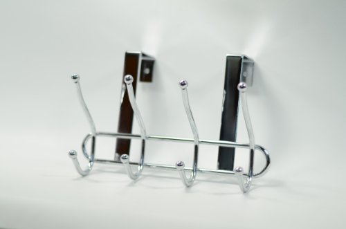 Target for Home Over the Door Coat and Hat Valet 4 Hook Hanging Storage Rack, Chrome, 146968