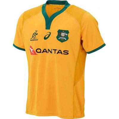 Australia Rugby Jersey Football Jersey Rugby Jersey Polo Shirt Classic Fits Supporters Home Jersey Short Sleeve Sportswear,Yellow,XL