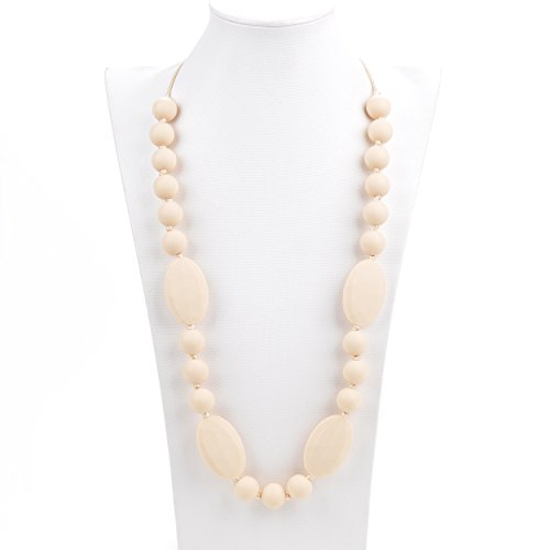 "UPC 684334924098, Silicone Teething Necklace - 12 Color Choices - Baby Safe For Mom To Wear - BPA-Free Beads To Chew - Stylish & Natural ""Cora"" (Ivory)"