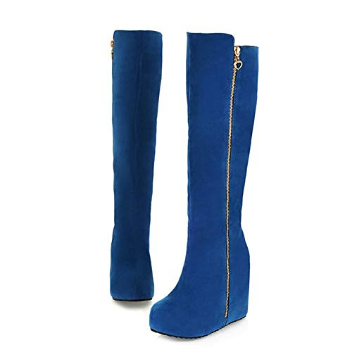 (Hoxekle Knee High Boots Hidden Wedge Heel Women Blac Blue Winter Warm Shoes Outdoor Casual Boot)